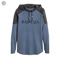 Balmain X HM Mens Long Sleeve Navy Biker Hoodie Size Large 100% Authentic