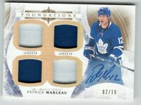 17/18 UD The Cup Foundations Autographed Quad Jersey Patrick Marleau /25 On Card