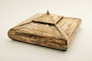 """Vintage Cow Bone Box 7.5"""" x 7.5"""" with Lid and Brass Finial Felt Lined"""