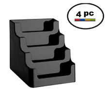 Black 4 Pocket Desktop Countertop Business Card Display Holder Wholesale