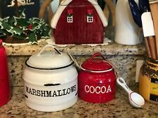 Southern Living Christmas Winter Cocoa Canister & Spoon Set New!