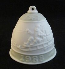 Lladro Collectors Society Green Band Bisque Porcelain Bell 1988 Made in Spain