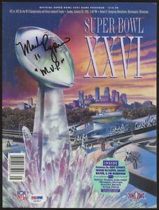 "Mark Rypien Signed Super Bowl XXVI Game Program Inscribed""MVP""(PSA COA) Redskins"