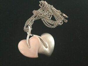 925 STERLING SILVER MOTHER OF PEARL GEMSTONE LEAF/HEART PENDANT NECKLACE   # 280