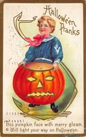 Halloween Postcard Sailor Dressed Boy Holding Jack-O-Lantern Pumpkin~123349