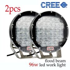 "Pair 96w High Power CREE LED Work Light ATVs Offroad SUV Truck Boat 4WD 9"" Flood"
