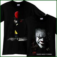 IT PENNYWISE Clown Horror Thriller Movie Black T-Shirt TShirt Tee Size S-3XL