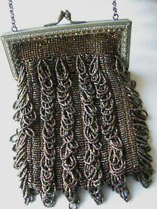 Antique Gold Floral Frame Knit Iridescent Brown Green Copper Bead Lined Purse