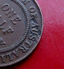 "Error Die Lamination ""Australia""  1927  Australia 1/2 Penny George V, 6 Pearls."