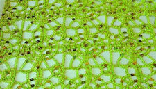 """Lime Chain sequin chemical web Lace 54"""" wide Fabric Sold By yd overlay"""