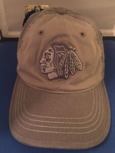 NEW Chicago Blackhawks Gray Zephr Brand Hat Cap Adjustable NHL NWT