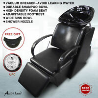 Backwash Barber Shampoo Chair Ceramic Bowl Sink Unit Station Salon Spa Equipment