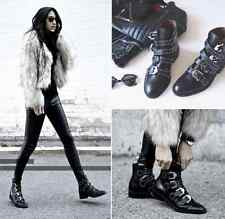 Womens leather rivets buckle ankle boots punk pointed toe motorcycle shoes Y88