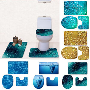 Novelty Bathroon Rug Set Toilet Mats Pedestal Mat Sink Rug Lid Cover Carpet