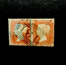 Gb 1854 Pair Of Victoria 1d Red Stamps Sg17 Wmk Small Crown P16 Die 1 Fine Used