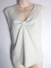 E-VIE Light Mint Green & White Stripe Stretchy Sleeveless Top Size 14 16 (M3)
