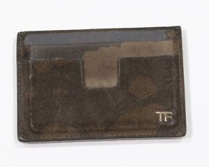 Tom Ford $390 Military Green Camouflage Suede Leather Cardholder
