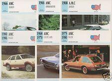 6 FICHES AUTOMOBILE USA CAR AMC MARLIN AMBASSADOR JAVELIN COUPE AMX PACER EAGLE