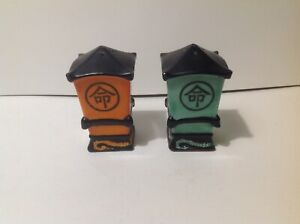 Vintage Japan Pagoda Lantern Salt & Pepper Shakers handpainted - Corks