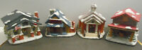 VINTAGE PORCELAIN CHRISTMAS VILLAGE SET LOT OF 4 BUILDINGS DORAL