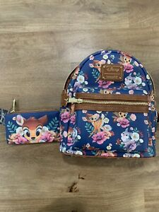 Loungefly Disney Bambi Floral Print Mini Backpack & Wallet - Limited Edition NWT