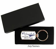 Personalised Fathers Day Grandad No 1 Grandpa Keyring Metal With Gift Box Gift