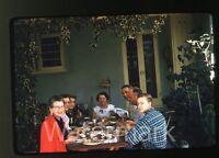 1950s red border Kodachrome Photo slide People outside eating dinner