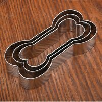 3Pcs Stainless Steel Dog Bone Cookie Cutter Set Biscuit Fondant Pastry Baking