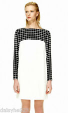 NEW $425 TIBI SHIFT DRESS 100% SILK WHITE BLACK LONG SLEEVE SIZE 2 XS PLAID