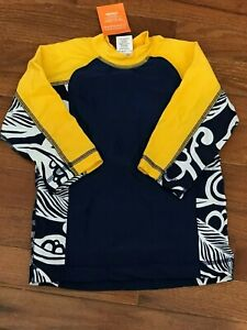 NWT Gymboree Boys Yellow and Blue Floral Rashguard Size 4 4T