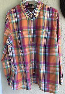 Lauren Jeans Co Women's 2X Shirt 100% Cotton Orange/Pink/Green Plaid Roll Tab