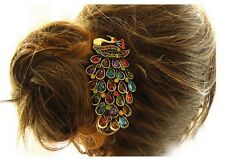 Rétro Femme Barrette Pince Plume Paon Strass Bijoux Cheveux Epingle Clip Chignon