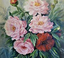 E.Niegsch sig (XX) Gemälde 1998: ROSA & ROTE PFINGST-ROSEN