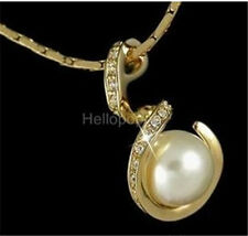18K Yellow Gold Gold Gp Austrian Crystal Pearl Chain Pendent Necklace BR1355