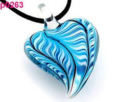 handmade blue heart glass art beaded Pendant black cord necklace p0263