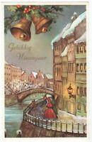 Greetings Card Merry Christmas Bells Promenade Lady Belgium Postcard ART