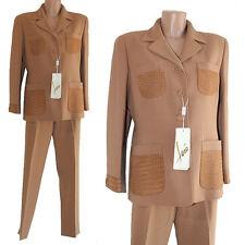 Tailleur completo giacca pantalone Ferò italy lana e vera pelle marrone 48  donna 9c1e1efd086