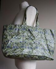 Vtg Liberty London Morris Green Blue Print Coated Cotton Large Market Tote Bag