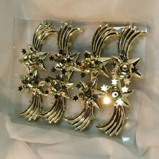 8 vtg candle clips clip-on holders with stars gold christmas tree solid Germany