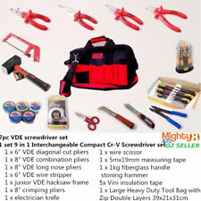 33pc VDE Insulated Electrician Tool Set: Pliers, Knife, Stripper Screwdriver