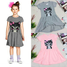 Lovely Baby Kids Girl Clothes Summer Dress Cat Print Cartoon Casual Party Shirts