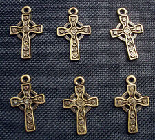 6 Celtic Cross Charms in Bronze Tone Metal 25mm