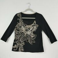 ColdWater Creek Womens 3/4 Sleeve Top Small Black Graphic Embroidery