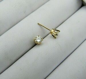 Vintage Solitaire Earrings Diamond 0.50ct Solid 14K Yellow Gold Post SI-1 H-I
