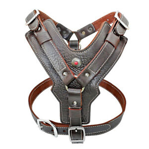 Genuine Leather No Pull Dog Harness Heavy Duty Vest w/ Handle for Large Big Dogs