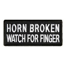 Embroidered Horn Broken Watch For Finger Iron on Sew on Biker Patch Badge
