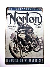 NORTON MOTORCYCLE - 20 TT'S  METAL TIN SIGNS vintage pub grand prix manx