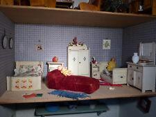 Komplette Ausstattung für antike Puppenstube Puppenhaus Schlafzimmer um 1930