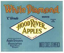 WHITE DIAMOND Brand, Hood River, Oregon *AN ORIGINAL APPLE FRUIT CRATE LABEL*