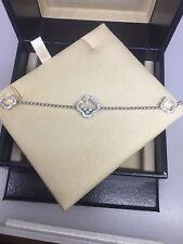 CHOPARD HAPPY CLOVER 18K WHITE GOLD DIAMOND CHARM BRACELET 85/6956 BRAND NEW!!